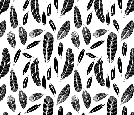 Black Feathers on White fabric by courtneyoquist on Spoonflower - custom fabric