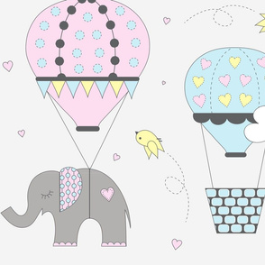 Hot Air Balloon Elephant Pastel Pink Blue