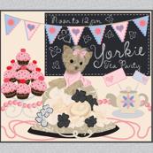 "Yorkie -Tea Party Quilt Panel 42x36"""