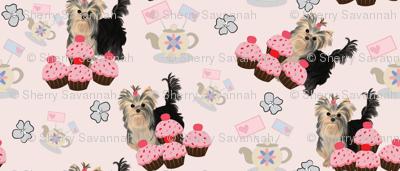 "Yorkie Birthday Party Matching Fabric - 2"""