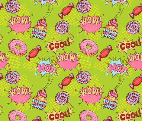 Pop-art-pattern fabric by nadiiaz on Spoonflower - custom fabric
