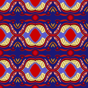 red and blue wax print