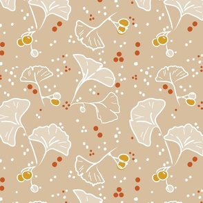 Ginkgo and berries - Beige - Large Scale