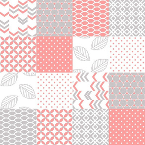 Cheater Quilt 4x4 Pattern, Pink Coral