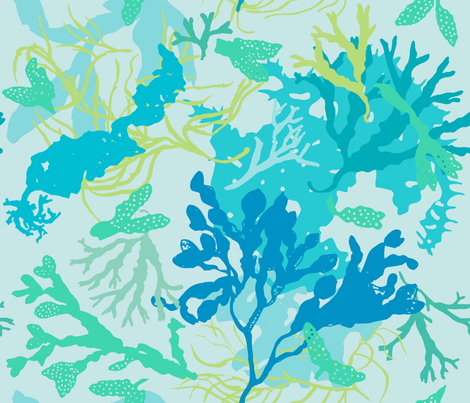 Botanical Beach Seaweed - kinda blue fabric by aldea on Spoonflower - custom fabric