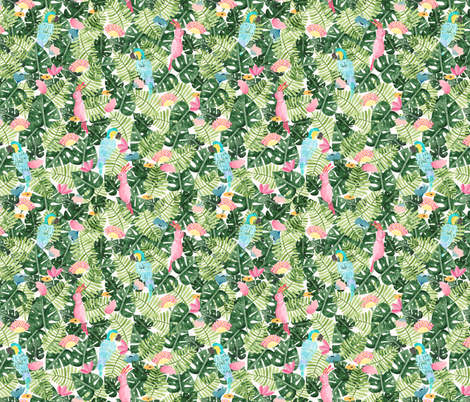 Summer tropical parrots in Watercolor fabric by thislittlestreet on Spoonflower - custom fabric