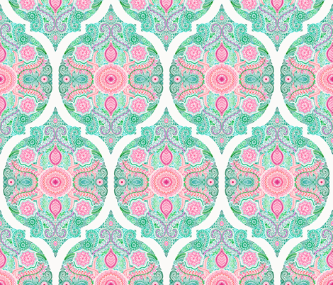 Pink and Green Doodle Moroccan fabric by micklyn on Spoonflower - custom fabric