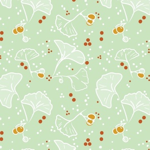 Ginkgo and berries - Pale Mint - Large scale