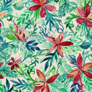 Vintage Toned Tropical Jungle Floral