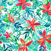 Bright Colors Tropical Watercolor Floral