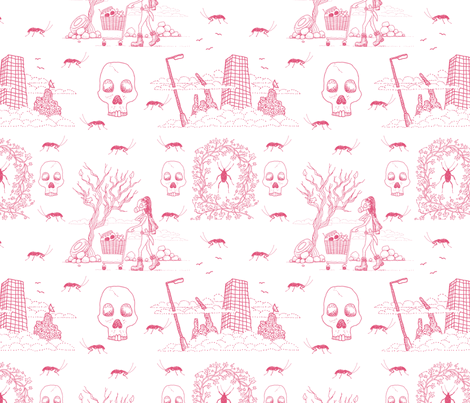 I'm a Survivor (lovely pink toile) fabric by seesawboomerang on Spoonflower - custom fabric