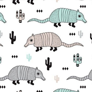 Cute quirky armadillo cactus woodland fun wester theme kids animals pattern and geometric details scandinavian style pastel mint gender neutral