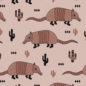 Cute quirky armadillo cactus woodland fun wester theme kids animals pattern and geometric details scandinavian style pastel sand and beige