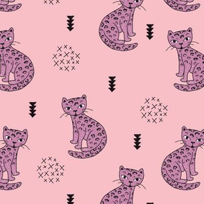 Adorable girls tiger kitten fun leopard panther style cat illustration and geometric details pink violet