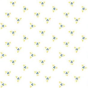 Swedish Folk Art Ditsy Dots Blue Yellow