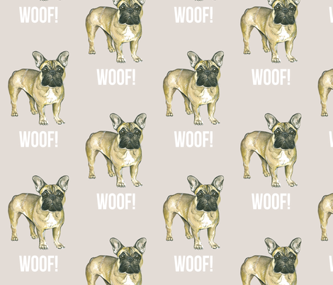 Frenchie Says Hello - French Bulldog fabric by taraput on Spoonflower - custom fabric