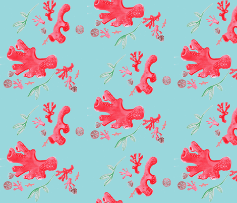 Turquoise Coral Accumulation fabric by christina_rowe on Spoonflower - custom fabric