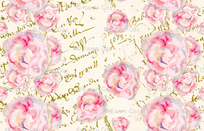 watercolor roses pale on French Script