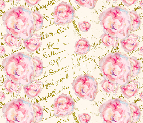 watercolor roses pale on French Script fabric by karenharveycox on Spoonflower - custom fabric