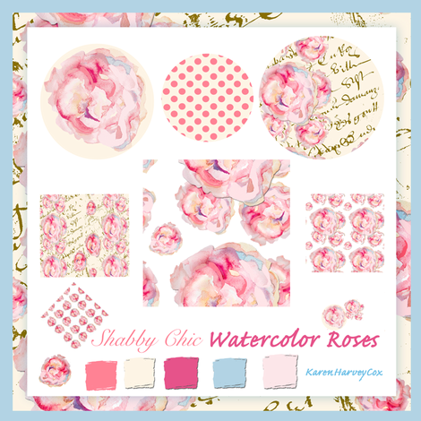 Shabby_Chic_Watercolor_roses_fabric_collection_blue_border fabric by karenharveycox on Spoonflower - custom fabric