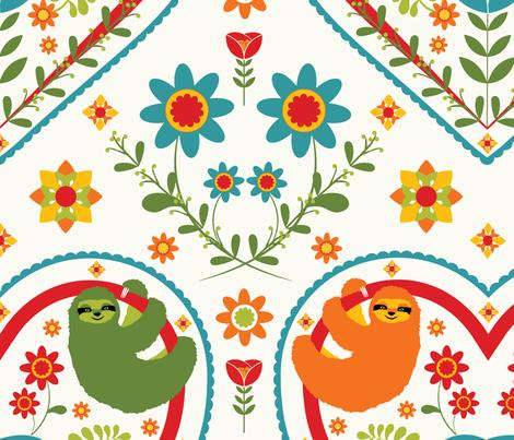Love Sloths Brightfolk fabric by onelittleprintshop on Spoonflower - custom fabric