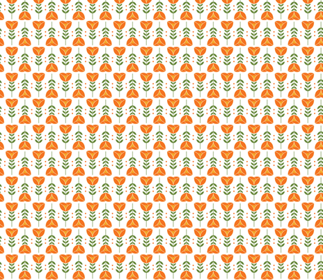 Lovely Orange Tulips fabric by onelittleprintshop on Spoonflower - custom fabric