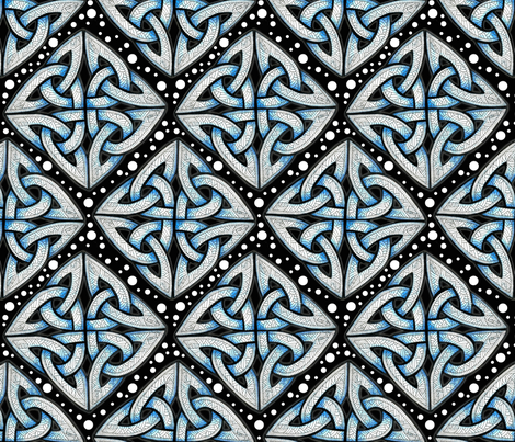 Blue on black knots fabric by whimzwhirled on Spoonflower - custom fabric