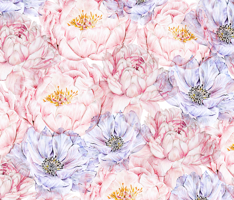 Peonies and Anemones fabric by carmenhui on Spoonflower - custom fabric
