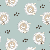 Coffee lovers cups and cappuccino with chocolate chip cookies illustration pattern pastel blue