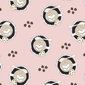 Coffee lovers cups and cappuccino with chocolate chip cookies illustration pattern pastel pink