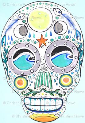 Ocean Sugar Skull Fabric Christina Rowe Spoonflower