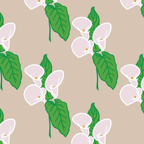 Calla lily and leaf pattern - Greige