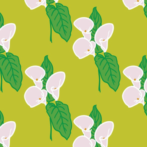 Calla lily and leaf pattern - Chartreuse