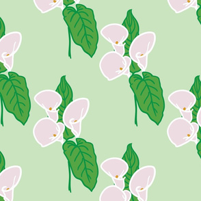 Calla lily and leaf pattern - Mint
