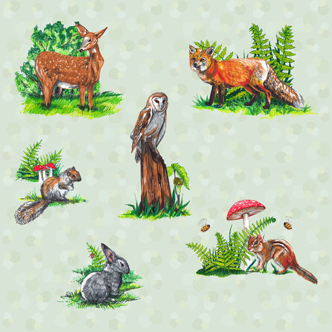 woodland  creations a tad bigger fabric by swampwitch on Spoonflower - custom fabric