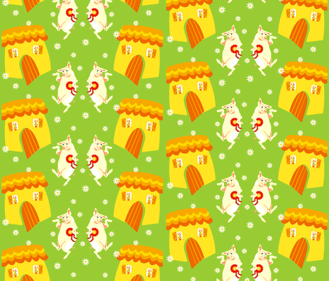 'Best fatted cottage pig' fabric by moirarae on Spoonflower - custom fabric