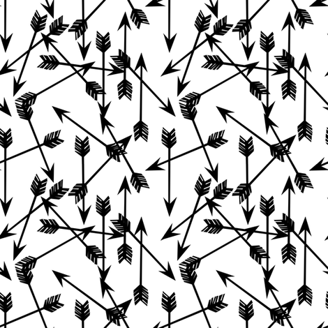 arrows // black and white mini arrows minimal black and white baby nursery fabric by andrea_lauren on Spoonflower - custom fabric