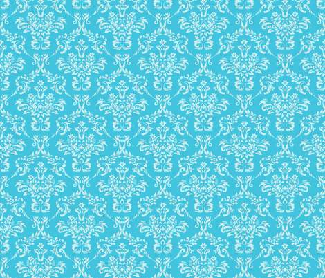 Aqua Damask fabric by sunshineandspoons on Spoonflower - custom fabric