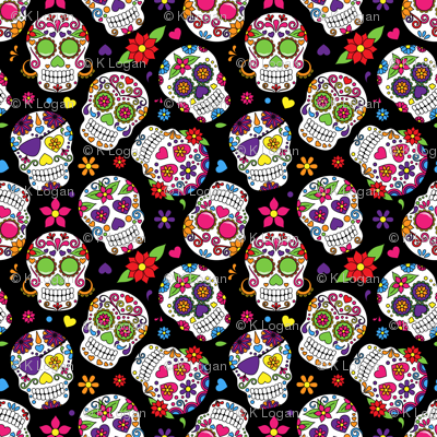 Sugar Skulls on Black Background