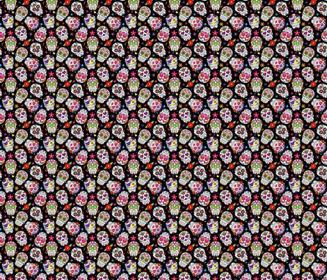 Sugar Skulls on Black Background fabric by khaus on Spoonflower - custom fabric