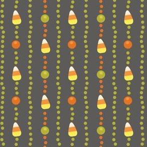 Halloween Candy Corn, Poka Dot Stripes on Grey