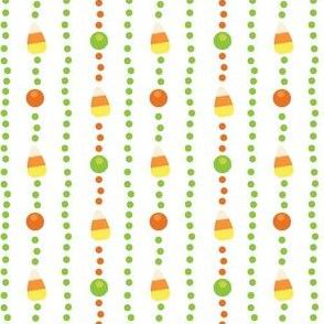 Halloween Candy Corn, Poka Dot Stripes on White