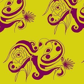 Cephalopod with flowers