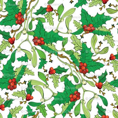Mistletoe Holly Berries Seamless Pattern Vibrant Red Green
