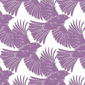 Purple Bird Silhouettes Diagonal Seamless Pattern