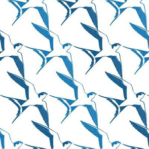 Blue White Swallows Birds Geometric Seamless Pattern
