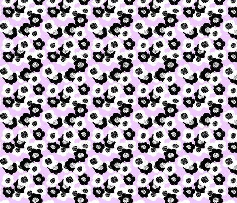 Black and White Flowers - Lavender fabric by courtneyoquist on Spoonflower - custom fabric