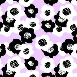 Black and White Flowers - Lavender
