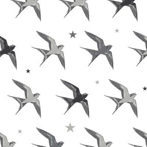 Flying Swallows Birds Diagonal Seamless Pattern
