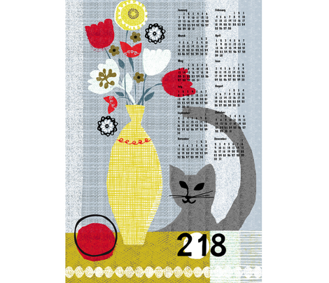 2018 still life w/ cat tea towel calendar-gray